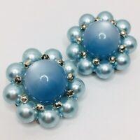 Blue Moonstone Flower Vintage Clip On Earrings Plastic Cabochon Faux Pearl