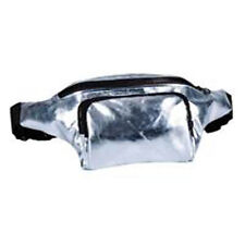 80's Style High Shine Bum Bag - 80's Fancy Dress - Silver