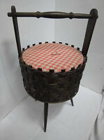 1950s 1960s Sewing Basket Wollkorb Portable Wicker Original 50s 60s