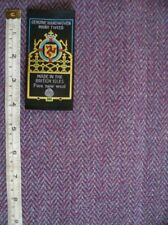Purple Turquoise Herringbone Handwoven Manx Tweed Fabric 1m 100% Wool