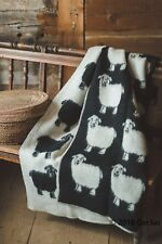 Blanket Throw Bed Sofa Fleece Cozy Plaid Soft Warm 100% Wool 130x200cm Sheep Bla