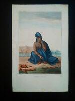 Rarissime Esquises Sénégalaises gravure couleur originale Femme Peul 1853 Boilat