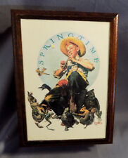 """Vintage Norman Rockwell Wood Musical Jewelry Box-""""Springtime&#034 ; by Hallmark #632"""