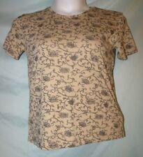 Bobbie Brooks Brown Floral Scoop Neck Short Sleeve Cotton Blend Knit Top Sz S
