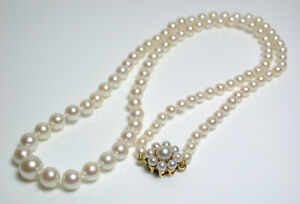 Vintage AAA quality 3.4-7.2mm Akoya cultured pearl & 9 carat gold necklace