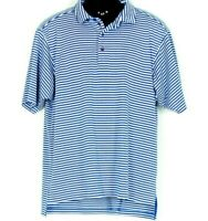 Bobby Jones X-H20 Mens Golf Polo Shirt L Blue Stripe Embroider Blue White Golfer