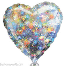 "32"" Jumbo Silver Holographic Fireworks New Year's Party Heart Foil Balloon"
