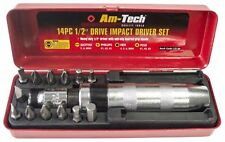 """Amtech 14pc 1/2"""" Drive Impact Driver Set Pozi Slotted Phillips With Metal Case"""