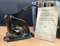 Late 1800s Antique Cast Iron Seal Stamp Press German Red Star Chicago WW1 Era