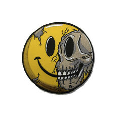"Embroidered 3"" Cracked Skull Smiley Sew or Iron on Patch Biker Patch"