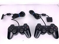 2 Sony PlayStation 2 PS2 Dual Shock OEM Controller Lot For Parts Only Sold As Is