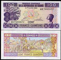 GUINEA 100 FRANCS 1985 P 30 a UNC
