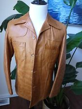 VTG buttery soft light brown camel remy leather coat jacket SZ40 pit to pit 20.5