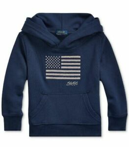 Polo Ralph Lauren Boys Navy Embroidered USA Flag Terry Pullover Hoodie L (14-16)