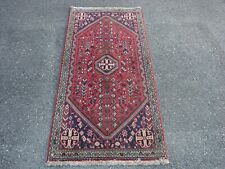 """2'3"""" X 5' Vintage Tribal Red Abadeh Qashqai Hand Knotted Rug"""