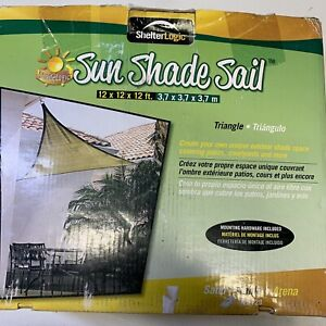 12' x 12' x 12' Sun Shade Sail Triangle, Sand Outdoor Canopy for Patio Lawn Yard