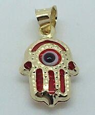 "14 Karat Gold 3-D Hamsa And Evil Eye Pendant. ""Free Box"""