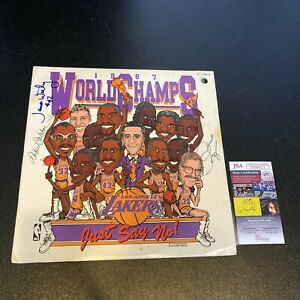 Kareem Abdul-Jabbar James Worthy Pat Riley Signed 1987 Lakers Champs LP JSA COA