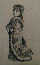 Sello de goma montado se aferran niña victoriana