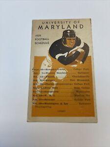 Original 1939 College Football Schedule University of Maryland