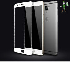 For OnePlus 3 3T Full Cover Carbon Fiber Soft Edge Tempered Glass  - White