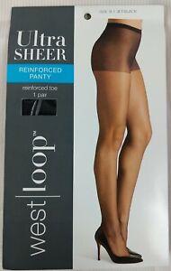 West Loop Ultra Sheer Nylon Pantyhose Jet Black, Size B New