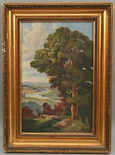 Small c1900 Antique American Hudson River School Landscape Oil Painting NR