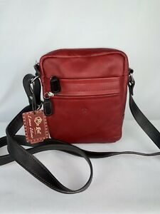 Valentina In Pell  Ruby Leather Travel Crossbody Bag Medium Made in Italy NWT