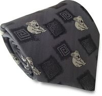 Mens Grey Standard Traditional Tie with Woven Australian Koala Bear Motifs