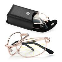 Case Progressive Multifocal Lenses Presbyopia Eyeglasses Metal Reading Glasses