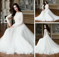 White/Ivory Muslim Long Sleeve Wedding Dress Lace Tulle Bridal Gowns Custom made