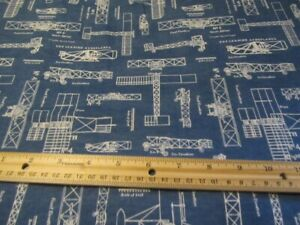 2 Yards Blue Airplane Blueprint/Sketch  Flannel Fabric