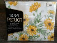 Pequot Cordial Gardens Percale Double Full Sz Flat Sheet Vintage Sunflowers New