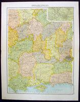 1890 Bartholomew Antique Map Southern & Central England