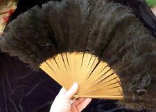 Vintage 1920s Art Deco BLACK MARIBOU Plume Feather Folding Flapper Fan