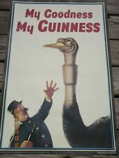 """My Goodness My Guinness Ostrich Poster Guinness beer Ireland 30""""X20"""" Vgc"""