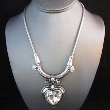 NEW - Silver Brighton Bay Crystal Heart Deco Pendant Stone Drop Necklace