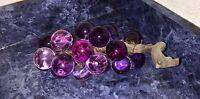 Vintage Driftwood Grape Cluster Purple Stem Glass Lucite Mid Century
