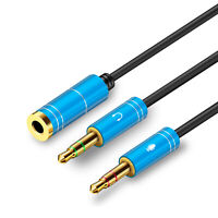 3.5mm Audio Mic Y Splitter Cable Headphone Adapter Headset Jack Female to 2 Male