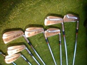 Ben Hogan Vintage Sunburst Saber 1950s irons...Original leather grips 2-EQ