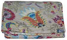 Indian Handmade Vintage Kantha Quilt Bedspread Throw Cotton Blanket Mukat Print