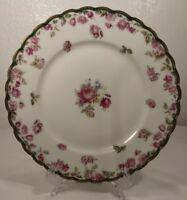 "Limoges Haviland France Pink Rose Plate, Scalloped Green & Gold Edge 8.5"""