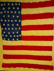 Hand Crochet Patriotic Afghan Blanket - Red, White & Blue, Stars & Stripes Flag