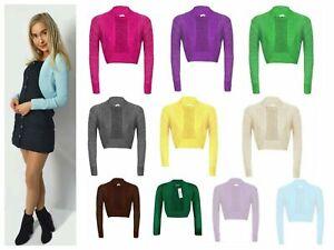 Uk Ladies Long Sleeve Shiny Lurex Knitted Bolero Shrug Crop Cardigan Short Top