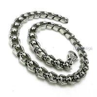 Men's Punk Gothic Biker Skull Silver Vintage 316L Stainless Steel Chain Necklace