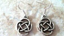 Silver 925 French Wires Celtic Rose Knot Earrings, Sterling
