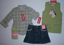NWT Gymboree 3 3T Cowgirls At Heart Denim Skirt Sweater Vest Plaid Shirt Tights