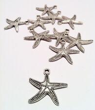 5 x Stella marina Ciondolo Charm argento antico 25x25mm DIY fai da te