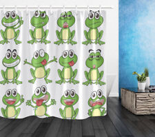 "72"" Funny Frog Faces Polyester Waterproof Bathroom Fabric Shower Curtain 12Hooks"