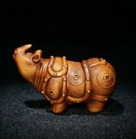 Collect Japanese old boxwood hand carving rhinoceros statue Netsuke figurines